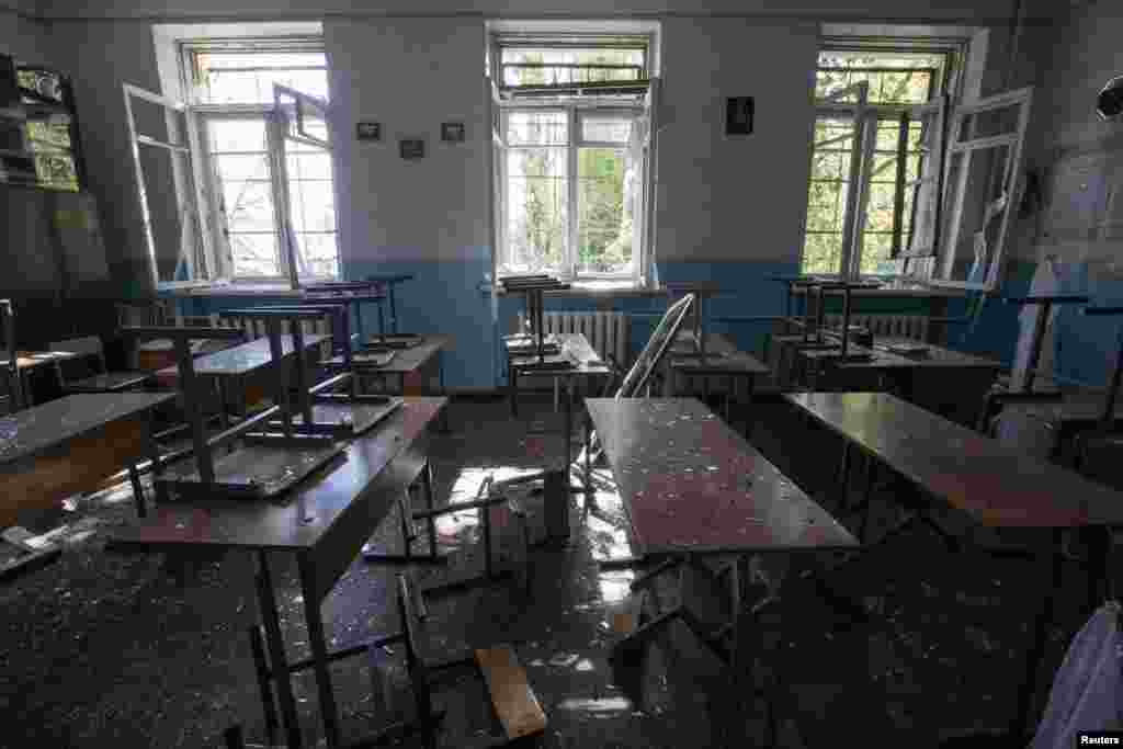 A view of a classroom of school No.57 damaged by recent shelling in Donetsk, eastern Ukraine, Oct. 1, 2014.