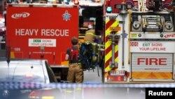澳大利亚墨尔本市中心砍人事件现场的救护车辆(2018年11月9日)