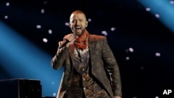 Justin Timberlake tampil di NFL Super Bowl. (Foto: AP)