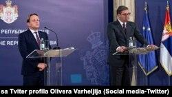 Oliver Varhelji, evropski komesar za proširenje, i predsednik Srbije Aleksandar Vučić (Foto: Tviter profil Olivera Varheilja)