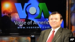Kem Sokha talks politics on VOA Khmer's 'Hello VOA' program Monday.