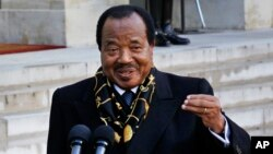 FILE - Cameroon's President Paul Biya addresses reporters at the Elyse Palace in Paris, Jan. 30, 2013. Opposition party members are protesting Biya's long hold on power in the country.