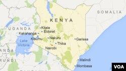 Map of Kenya showing major cities