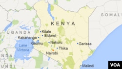 Map of Kenya showing major cities