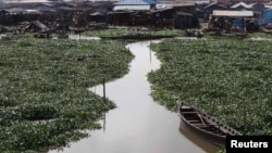 A 2011 global survey aimed at guiding city planners show African megacities at especially high risk from rising sea levels. Above, a Hyacinth-covered lagoon near the Makoko slum in Lagos, Nigeria, Oct. 2011 (file photo).