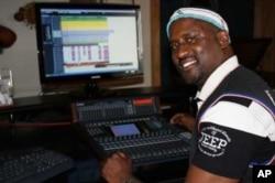 Madlingozi mixing new music in his Johannesburg studio