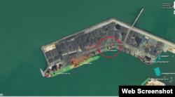 중국 펑라이 항에 정박한 북한 선박 '해방산' 호(붉은원) 위치. '마린트래픽' 이미지 캡처.
