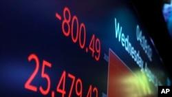 Papan elektronik di lantai perdagangan Bursa Saham New York menunjukkan angka penutupan Indeks Dow Jones Industrial, 14 Agustus 2019. (Foto: AP