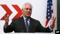 Le secrétaire d'État Rex Tillerson parle à Vienne, Autriche, le 7 décembre 2017.
