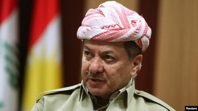 FILE - Kurdistan Regional Government President Masoud Barzani speaks during an interview  in Arbil, in Iraq's Kurdistan region, May 12, 2014.