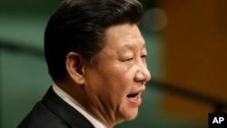 9月28日,中国国家主席习近平在联合国总部举行的联合国大会第70届会议上发表讲话。(AP)