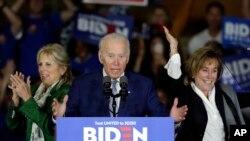 미 대선 민주당 경선 후보인 조 바이든 전 부통령이 3일 캘리포니아주 로스앤젤레스에서 열린 개표 관전 행사(프라이머리 나이트)에서 연설하고 있다.