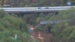 Toprak Kayması Otoyoldaki Köprüyü Yıktı