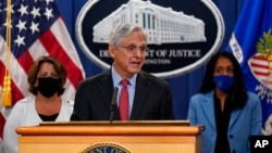 Attorney General Merrick Garland announces a lawsuit to block the enforcement of new Texas law that bans most abortions, at the Justice Department in Washington, Sept. 9, 2021.
