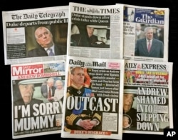 A combination photo of the front-pages of British newspapers on Thursday Nov. 21, 2019 headlining the scandal surrounding Britain's Prince Andrew. Lawyers for victims of sex offender Jeffrey Epstein say Britain's Prince Andrew should speak to U.S…