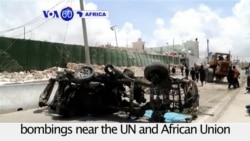 VOA60 Africa - Somalia: 13 people killed in Al-Shabaab suicide bombings in Mogadishu