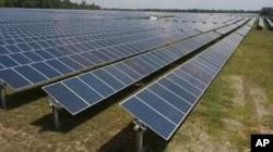 FILE - Dominion Energy's Scott Solar farm is seen in Powhatan, Va., Aug. 6, 2019.