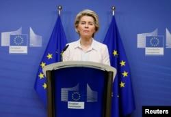 European Commission President Ursula von der Leyen gives a statement regarding Brexit talks at the European Commission in Brussels, Dec. 5, 2020.