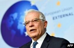 유럽연합(EU)의 호세프 보렐 EU 외교·안보 대표가 지난달 7일 EU 외무장관 회의 후 기자회견을 열었다.