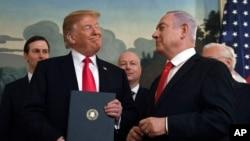 Arxiv fotosu: ABŞ prezidenti Donald Trump və İsrailin baş naziri Benyamin Netanyahu arasında Ağ Evdə görüş, 25 Mart, 2019.