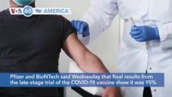 VOA60 Ameerikaa - Pfizer Says Its Coronavirus Vaccine is 95% Effective