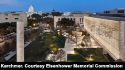 View of the Eisenhower Memorial at Night (Photograph by Alan Karchmer. Courtesy Eisenhower Memorial Commission)