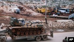 Turkish army artillery arrives in the east of Idlib, Syria, Feb. 15, 2020.