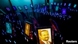 A picture of the 2019 Nobel Peace Prize Laureate, Ethiopian Prime Minister Abiy Ahmed, is displayed at the Nobel Peace Center in Oslo, Norway, Oct. 11, 2019.