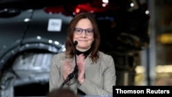 FILE PHOTO: General Motors Chief Executive Officer Mary Barra announces a major investment focused on the development of GM future technologies at the GM Orion Assembly Plant in Lake Orion,