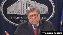 Captura de pantalla de la videoconferencia del secretario de Justicia, William Barr, el 4 de junio de 2020.