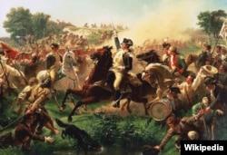 몬머스 전투에서 군 부대를 지휘하고 있는 조지 워싱턴.