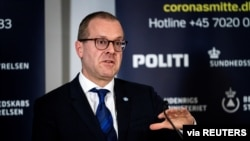 FILE - The World Health Organization's regional director for Europe, Hans Kluge, speaks during a news conference about the coronavirus disease at Eigtveds Pakhus, in Copenhagen, Denmark, March 27, 2020.