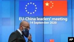 Presiden Dewan Eropa Charles Michel tiba untuk memberikan konferensi pers daring di gedung Dewan Eropa, di Brussels, 14 September 2020.