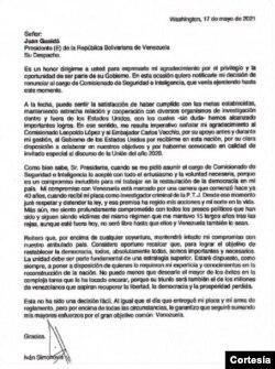 Carta de renuncia de Iván Simonovis, con fecha del 17 de mayo de 2021.