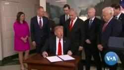 Signature du décret américain reconnaissant la souveraineté d'Israël sur le Golan
