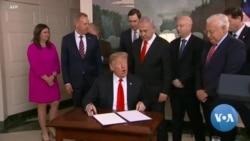 Prezida Trump Yasinye Itegeko Ryemeza ko Imisozi ya Golan Yegukiye Isirayeli