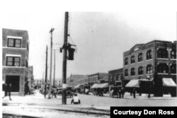 Busy Greenwood Avenue in Tulsa's African American commercial district before the riot. (Courtesy Don Ross)