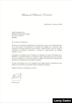 Imagen de la carta presentada por Ernesto Talvi, donde renuncia al cargo como canciller de Uruguay.
