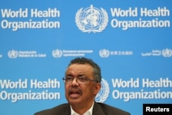 FILE - Director-General of the World Health Organization (WHO) Tedros Adhanom Ghebreyesus speaks during a news conference after a meeting of the Emergency Committee on the novel coronavirus (2019-nCoV) in Geneva, Jan. 30, 2020.