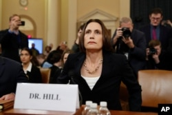 Former White House national security aide Fiona Hill, arrives to testify before the House Intelligence Committee on Capitol Hill in Washington, Nov. 21, 2019.