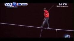 Một người Mỹ thực hiện thành công màn đi dây trên cao không đồ bảo hộ