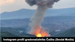 "Eksplozija i dim iznad čačanske ""Slobode"" (Foto: Instagram profil gradonačelnika Čačka Miluna Todorovića)"