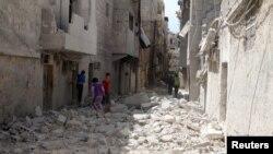 阿勒頗這座城市的多個區域現在都是一片廢墟。