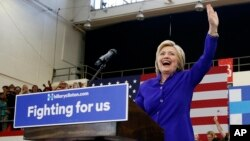 Democratic presidential candidate Hillary Clinton takes the stage at a rally in Long Beach, California, June 6, 2016.