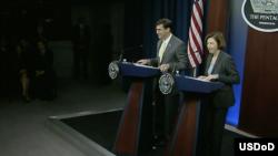 美国和法国防长2020年1月27日在五角大楼共同见记者(美国国防部视频截图)