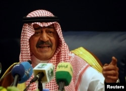 Prince Muqrin bin Abdul-Aziz, brother of Saudi's King Abdullah, gestures during a news conference in Riyadh November 24, 2007. REUTERS/ Ali Jarekji ABIA - Tags: POLITICS HEADSHOT) - RTR33OJ3