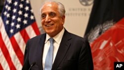 FILE - Special Representative for Afghanistan Reconciliation Zalmay Khalilzad speaks Feb. 8, 2019, at the U.S. Institute of Peace in Washington. Khalilzad had promised in March that he wouldlook into the Taliban's demand to have sanctions on their senior leaders removed.