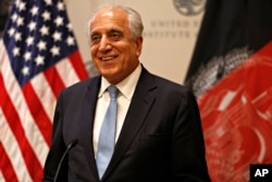 FILE - Special Representative for Afghanistan Reconciliation Zalmay Khalilzad speaks Feb. 8, 2019, at the U.S. Institute of Peace in Washington.