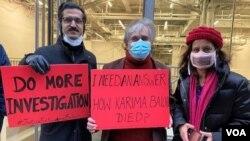 په نیویارک کې احتجاج کوونکي د کریمې بلوچ د مړینې پلټنه غواړي.