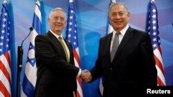 دیدار وزیر دفاع امریکا با صدراعظم اسراییل در بیت المقدس